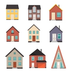 Flat house icon set vector