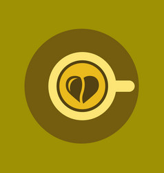 Flat icon on background cup coffee heart vector