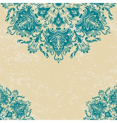 Floral damask invitation card vector