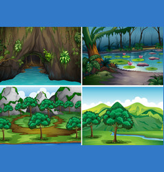 Four scenes of forests vector