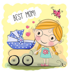 Greeting card best mom vector