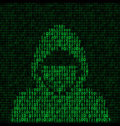 Hacker on binary code background vector