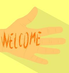 Hand welcome vector