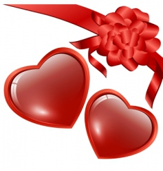 hearts with bow vector image vector image
