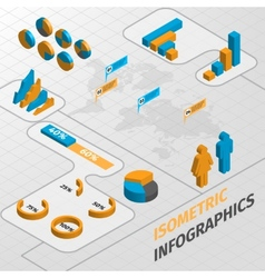 Isometric business infographics design elements vector image vector image