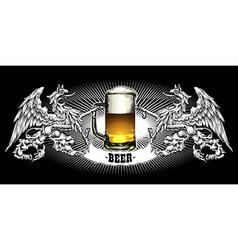 menu design with beer vector image vector image