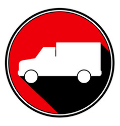 Red round with black shadow - white lorry car icon vector