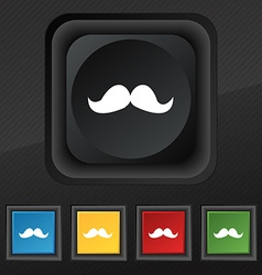 Retro moustache icon symbol set of five colorful vector