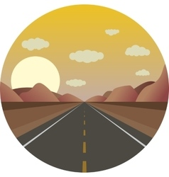 Straight road ahead at sunrise in the mountains vector