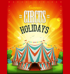 summer circus holidays poster vector image vector image