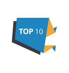 Top10 text in label blue yellow black vector