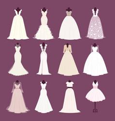 Wedding bride dress different edsign vector