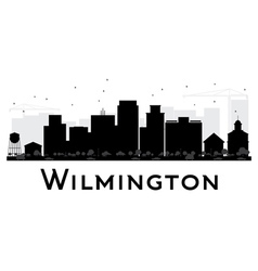 Wilmington city skyline black and white silhouette vector
