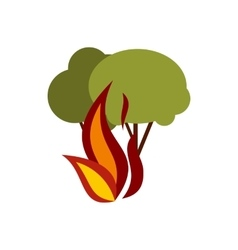 Fire in woods icon flat style vector
