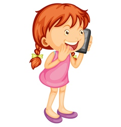 A girl talking on mobile vector