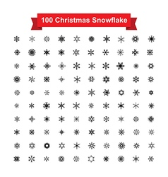 Collection of 100 christmas snowflake isolated on vector