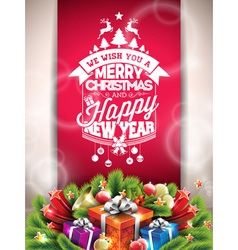 Christmas typographic design with gift boxes vector