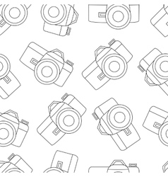Line seamless photo camera with shutter vector