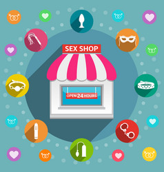 Sex shop flat design concept vector