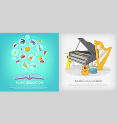 musical education banner set cartoon style vector image