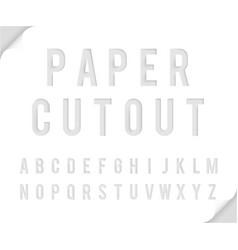 bent paper cutout font template alphabet vector image