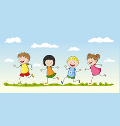 Four children playing vector