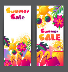 Summer sale banners with colorful elements sun vector