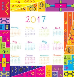 2017 frame calendar with ethnic motifs vector