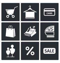 Shopping icons collection vector