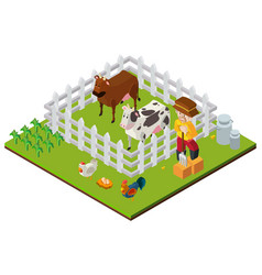3d design for farmer and farm animals vector image