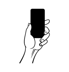 Hand holding smart phone on white background vector