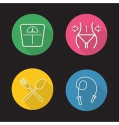 Women fitness flat linear icons set vector