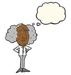 Cartoon big hair lecturer man with thought bubble vector