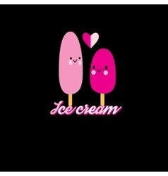Funny love with ice cream vector