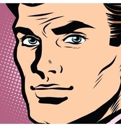 Male face profile close-up pop art vector