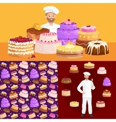 Confectioner cook chef cartoon character with cake vector