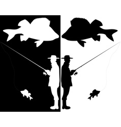 silhouettes of fishermen vector image