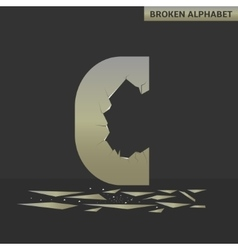 Letter c broken mirror vector