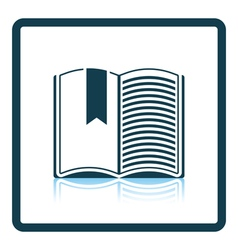 Icon of open book with bookmark vector
