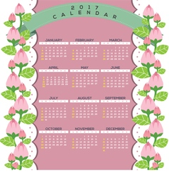 2017 Natural Printable Calendar Starts Sunday vector image