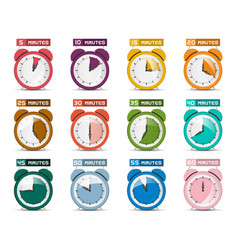 alarm clock set icons with five to sixty minutes vector image vector image