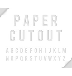 Bent paper cutout font template alphabet vector