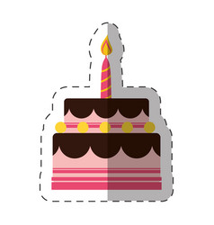 Birthday cake sweet candle vector