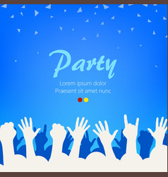 bright blue party background group of people vector image vector image
