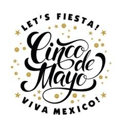 Cinco de mayo glittering lettering design vector