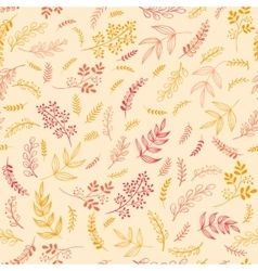 Doodle floral branches seamless pattern vector