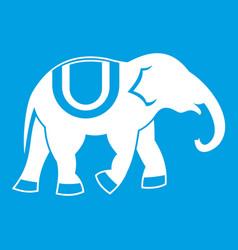 Elephant icon white vector