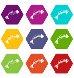 fish bones icon set color hexahedron vector image vector image