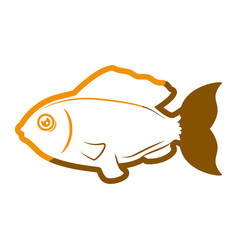 fish sea yellow symbol vector image