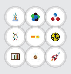 Flat icon knowledge set of flame genome chemical vector